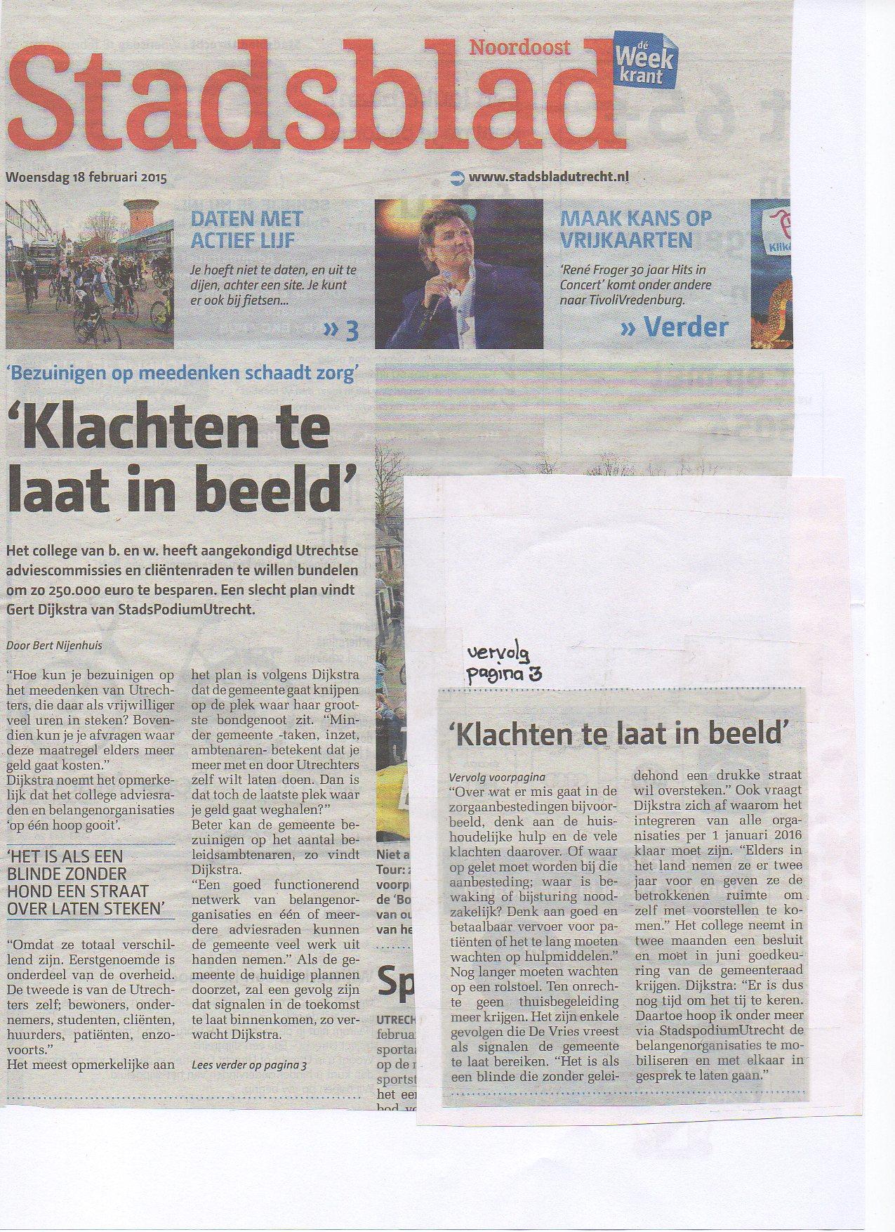 Artikel Stadsblad Utrecht 18 februari 2015 over Klachten te laat in beeld